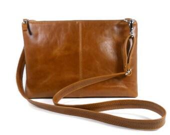 Cognac Leather Crossbody Bag, Leather Purse, Shoulder Bag, Handmade Leather Handbags, Minimalist Bag, Messenger Bag, Kamryn Bag, Made in USA