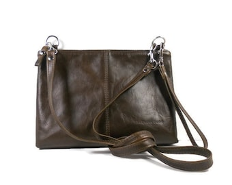 Brown Leather Crossbody Bag, Small Leather Handbag, Leather Purse Handmade, Crossbody Purse, Leather Bags and Purses, Made in USA