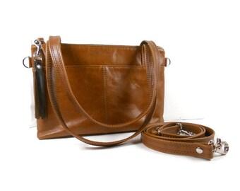 Leather Crossbody Satchel Handbag, Leather Shoulder Bag, Genuine Leather Crossbody Purse,  Handmade Leather Handbags, Made in USA