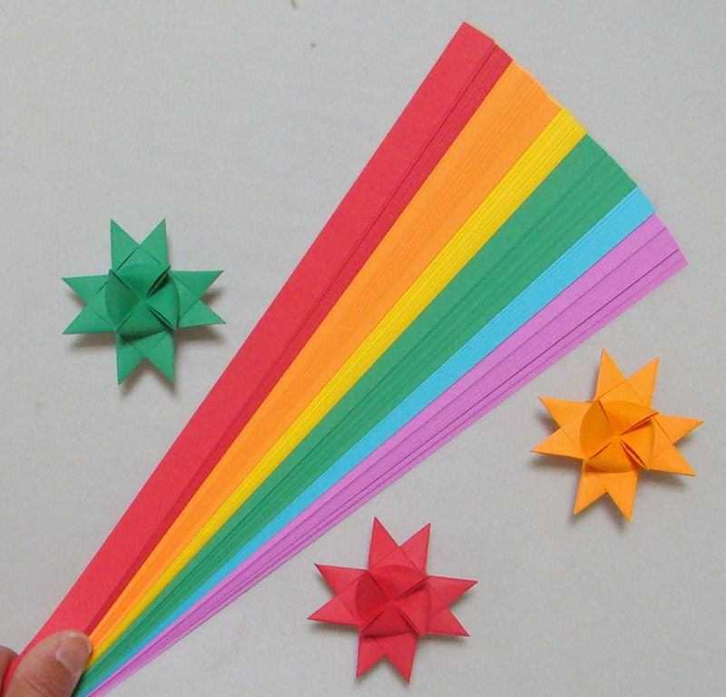 Arc en en Arc ciel mélange de bandes de papier pour faire Moravie allemand Froebel étoiles - différentes tailles (100 bandelettes par paquet) 3e4488