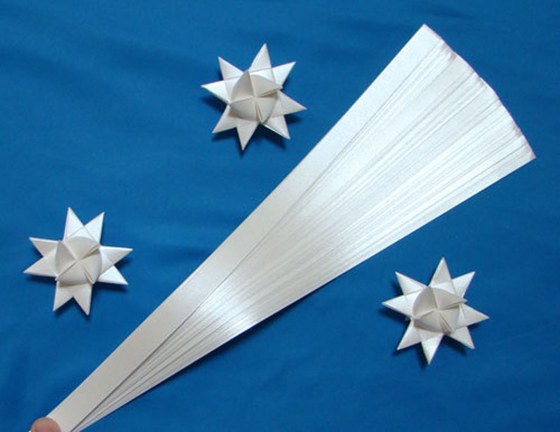 Pearlescent White Paper Strips for making Moravian German image 0