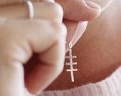 Violette Necklace   simple pendant   sterling silver unique cross necklace   thin elegant silver necklace