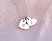 Tiny Heart Letter Necklace. Sterling Silver Dainty Heart Tag. Hand Stamped Monogram Heart Necklace. Personalised Gift Silver Necklace.