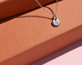 Initial Disc Necklace. Sterling Silver Dainty Letter Necklace with Multiple Disc options. Hand Stamped Initial Layering Necklace.