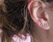 Alpha Earrings - single letter | alphabet jewelry | sterling silver letter earrings | tiny alphabet earrings | personalised earrings