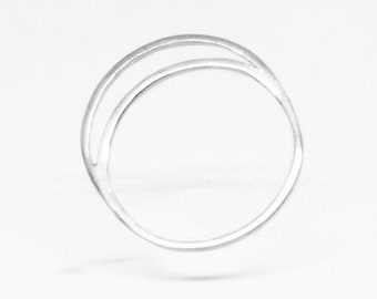 Luna Ring | simple stacking ring | sterling silver moon ring | thin elegant silver band | 18g dainty lunar ring
