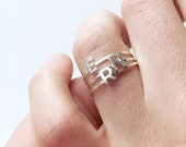 Initial Silver Ring. Stackable Letter Ring. Alphabet Stacking Ring. Dainty Customisable Monogram Ring