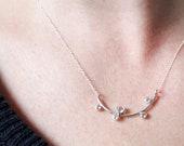 Sally Necklace | sterling silver topaz necklace | thin elegant silver necklace | white topaz necklace