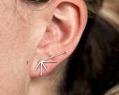 Astra Earrings | starburst sterling silver earrings | delicate art deco earrings | dainty burst sterling earrings