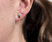Saffia Earrings | silver drop earrings | silver white topaz earrings | black spinel ball chain earrings | silver dangly chain earrings
