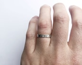 Custom Name Ring with note inside and out. Hand Stamped Letter Stacking Ring with inside and outside stamp. Personalised Name Ring