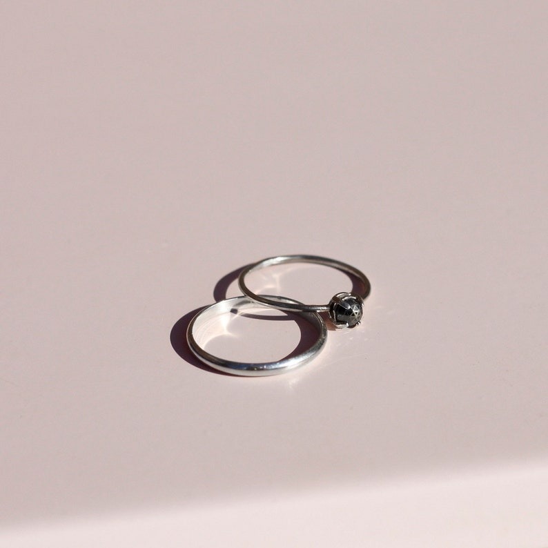 hematite Minette Ring simple stacking ring 16g black gem ring thin elegant silver band sterling silver rose cut ring