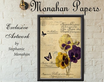 Farmhouse Botanical X565-11 x 17 Artist Print Scrapbooking French Decoupage Original Monahan Papers Floral Print Floral