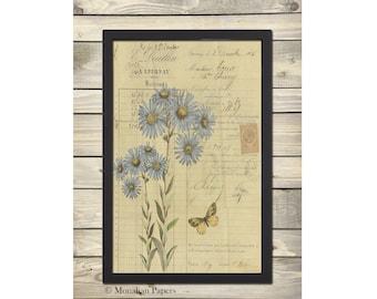 "BOT50 - 11"" x 17"" Artist Print - Scrapbooking - Decoupage - French - Botanical - Floral"