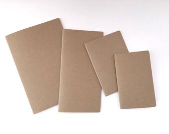 Traveler's Notebook Insert, Rhodia dot grid paper, Kraft Cover, six sizes