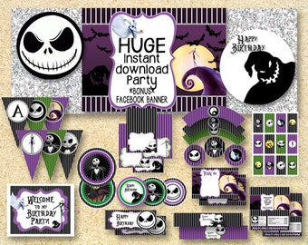birthday nightmare before christmas party printable party pack jack skelington instant download halloween printable fall printable