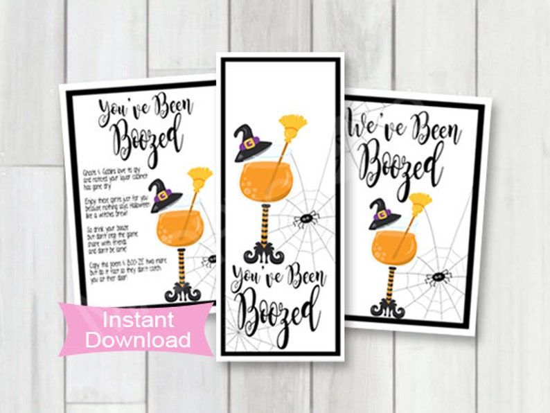 image about You've Been Boozed Printable titled Youve been Boozed printable, weve been boozed printable, wine bottle tags, Halloween tail bash, printable halloween want