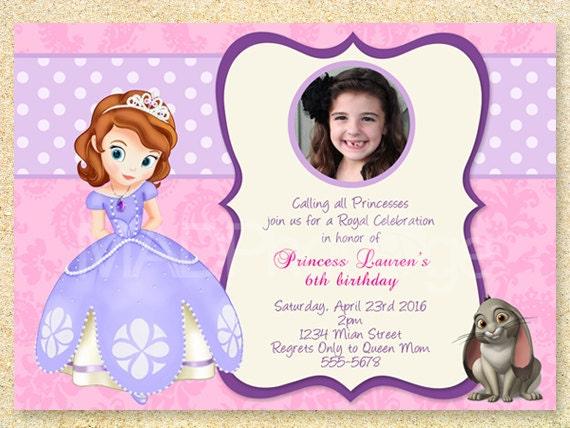Sofia The First Birthday Invitation Princess Sofia Party Etsy