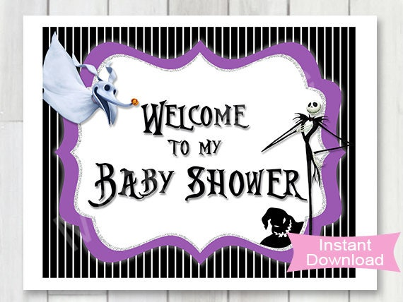 Nightmare Before Christmas Baby Shower Welcome Sign 8x10 Etsy