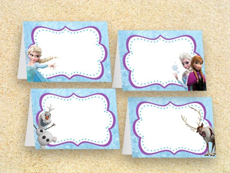 Frozen Food Tent Cards  INSTANT DOWNLOAD Disney Frozen Food image 0
