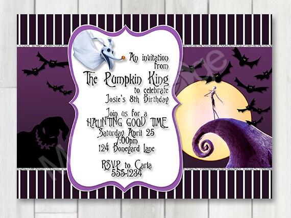 Jack Skellington Birthday Party Invitation, Nightmare Before Christmas  Birthday party, Baby Shower, Jack Skeleton, Halloween Wedding