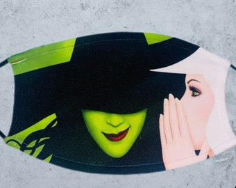 WICKED Musical Face Mask, Glinda face mask, Elphaba Face mask, Musical Face Masks, Broadway Face Masks, Fun face mask, Bestselling mask