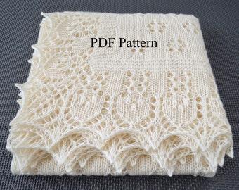 "Shawl pattern ""Forest Glade"". Lace Wrap, Scarf, Baby shawl, Christening shawl. Original design. PDF pattern. In English. LaceKnit design"