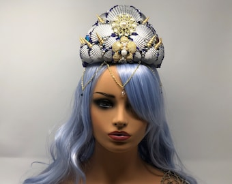 Mermaid Crown Blue, Silver, and Gold with real sea shells, blue beads, and gold chain