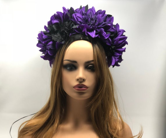 Green light up purple and black Flower crown floral  bf9264505c8