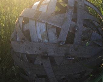 Repurposed wine barrel ring ball- Garden statement piece