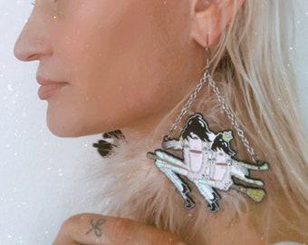 Pussy Witch Lapel Earrings
