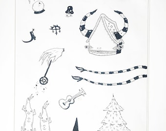 Symbols Original Ink Drawing