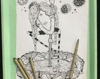 Dancing Queen Original Ink Drawing