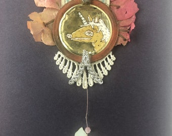 Princess pony assemblage mixed media wall hanging found object floral sculpture