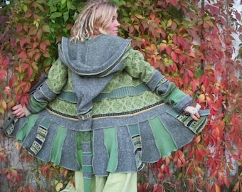 custom order for Hannah Rose  pixie gypsy hippie coat made of upcycled  nitted sweaters