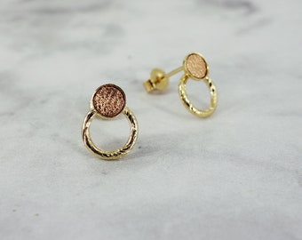 Mini round chips and hammered ring - Rose gold