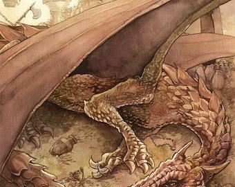 Dragon's hoard - gilded print
