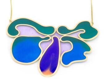 jewel tone bib necklace, bouquet of amoebas