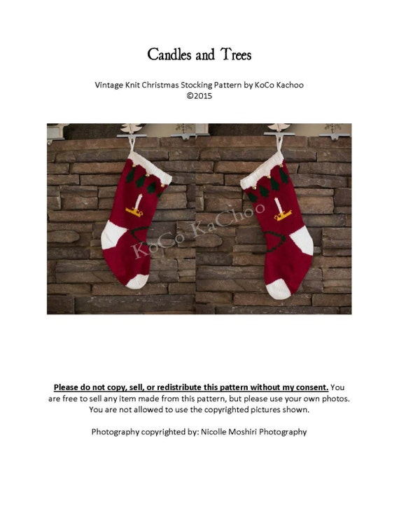 Candles & Trees Vintage Knit Christmas Stocking Pattern from ...