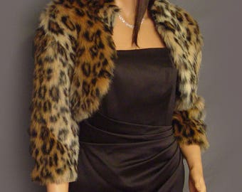 fe8a99b28154 Faux fur bolero jacket 3/4 sleeve coat in Leopard animal print winter shrug  wrap evening cover up bridal shrug topper FBA405 small-plus size