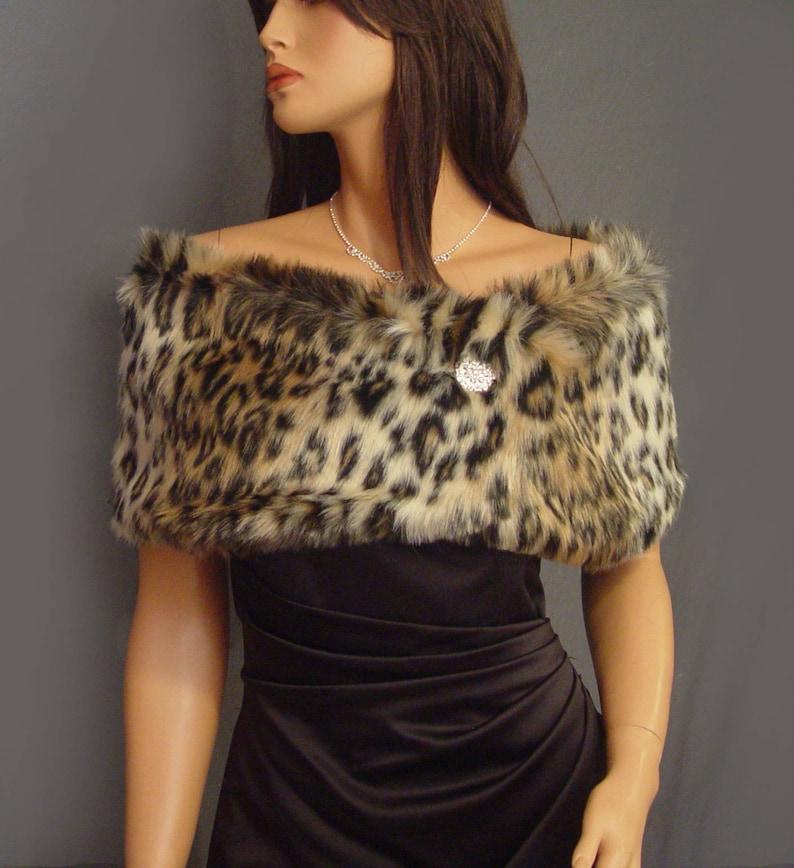 9c6af2fb23 Faux fur shrug stole shawl in Leopard bridal wedding wrap   Etsy
