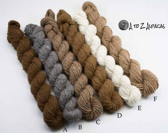 Worsted Weight Alpaca Yarn! Minis from all the natural colors! From our family alpaca farm!