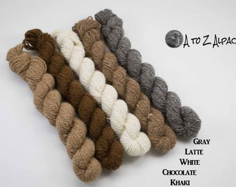 Sock Weight Alpaca Yarn! Natural Mini Set! From our family alpaca farm!