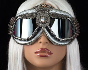 Burning Man Goggles~ Chrome King Queen ~  burner goggles, festival goggles, dust goggles