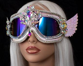 White Holographic Goggles ~ burner goggles, Burning Man Goggles, festival goggles, dust goggles
