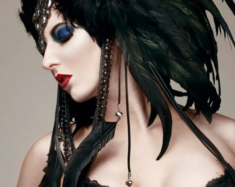 Black and Gunmetal Headdress ~ MADE TO ORDER