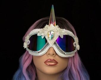 Goggles~ White Holographic Unicorn Goggles ~ Burning Man goggles, festival goggles, burner dust goggles