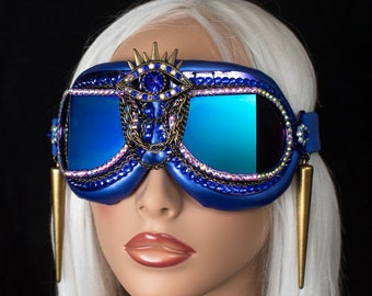 Goggles ~ All Blue Evil Eye, Burning Man goggles, Burner dust goggles, festival goggles, rave goggles
