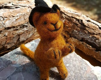 Cat Witch the little Kitten Witch- needle felted animal-art doll-wicca-wiccan altar- Orange #6