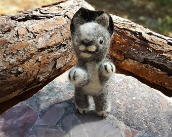 Cat Witch the little Kitten Witch-art doll-needle felted animal-Grey & white #1-wicca-wiccan altar